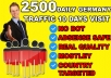 I will Drive Unlimited Targeted Germany Website Traffic and Visitors  Key Features  2500+ Germany Visitor For 10 Days. LOW BOUNCE RATE. Increase SEO Rank | Alexa Boost. Traffic Come From 90% Germany. Delivery with Proofs. No software or bot used. All of the Visitor are Genuine. 100% Trusted Service. 100% Money Back Service. Quick and Fast Service. Do not provide any redirect url Entirely trackable on Analytics 24/7 Customer Support