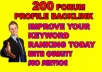 200+ Forum profiles backlinks from high quality forums It is my new service for you. Now you can avail this service with less price $5 on sale offer for few days. For first order I will give one bonus to you.  Forum profiles backlinks from high quality forums Some links will come with link as anchor text. Mix do-follow and no-follow links Multiple links/keywords accepted for each order Full details reports including each created links/accounts Reports typically delivered within 48 hrs