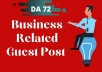 Publish Permanent Guest Post On Business Related DA 70+