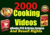 WELCOME TO MY COOKING VIDEOS GIG   ✅ PLEASE CONTACT ME BEFORE PLACING THE ORDER TO AVOID CANCELATION ✅  If you want to improve your cooking but if you don't know where to start, This is the perfect gig for you Because You can know the ultimate recipes on how to cook. and You can use it for Your Social media, Blog, Website, or Commercial use. Because this is a very Quality content video, eBooks, PLR Articles, etc. and No watermarks in This Videos eBooks Articles, and no Logos, or any other branded issues. so you can use and add your own brand logo and video intro.  ✅ What do I provide for you?  2000 HD Quality Cooking Videos. 2000 Recipes eBooks with Resell Right. 20000 PLR Articles with Resell Right. 40000 Recipe Images. etc.  ✅ Why you choose me over any others?  Long time Relationship. Instant delivery & 24/7 Hours support Very Good Communication. Good customer care. etc. ✅ if You now Not ready to order yet?  make this gig favorite and order anytime.