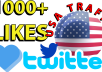 I will give you real , fast and high quality Twitter services within the time frame.  Offers:-  1000+ twitter likes from USA by 14day [✓refill guaranteed]   ∆∆∆∆∆∆[✓✓✓USA Traffic✓✓✓]∆∆∆∆∆∆  FEATURES:- (✔) 100% Safe (✔) super Start (✔)Fast and Cheap Service (✔)Split are available (✔) Improve visibility