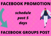 do facebook groups post in schedule 5 days work