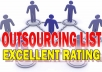Give My Hundreds of Cheap OUTSOURCING List With Excelent Track Record That Support Your Businesses in Long Term