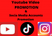 Promote youtube video or social media accounts