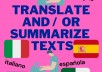 translate and summarize your texts