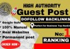 Provide Quality Backlins For Guest Blog on High Authority Websites