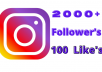 provide you 2500+ High-Quality Instagram Followers,100 likes only
