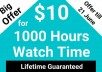 give 1000 Hour YouTube Watch Time With Lifetime Guarantee