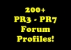 create 200+ HIGH authority PR3 to PR7 forum profile backlinks and ping them