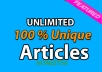 Never pay for Article Writing again. ✔Almost All Niche contents are Available. Copy & Paste System, Generate Article in 1 minute! This is NOT Spinning contents, NOT Translation method ⇨ Only 2 steps to follow. Daily UPDATED Contents!! You can start your own Articles Writing Service here at GigBucks. ✚Unannounced Bonus. Order Now!