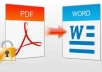 convert 50 pdf files to Word files/50 Word files to pdf files within 24 Hours