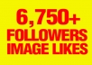 give you 6,750+ AUTHENTIC Instagram followers And 4,750+ Image likes Extremely fast
