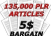 give you 135,000 PLR Articles on 1200 Nicehes+ 21 PLR / MRR Products