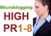 create 20 Microblogging dofollow backlinks from high pr 8 to pr1 sites