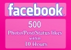 supply you 500 Parmanent Facebook Real Likes of photo/comment/status/post in 1 hour