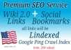 add your site to 200 Social Bookmarks and 4000 Wiki sites PLUS Lindexed to ping crawl and index your contextual backlinks faster