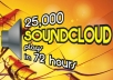 add 25,000 FAST SAFE and REAL Soundcloud plays in 72 hours
