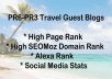 send you a list of 25 Pr6 + pr3 travel sites who accept guest posts inc indepth info for each one inc seomoz da,pa,alexa and social metrics