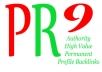 create 10 ►PR9◄ high value authority profile backlinks from different PR 9 domains Panda Penguin Friendly with Anchor Text