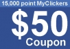 Give $50 Coupon (15000 points) one social exchange site
