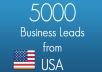 send you a list with 5,000 business leads from any USA state with names, address, emails, business category and more