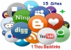 I will bookmarks your website on 12 pr8 to pr5 bookmarking site and back link them with 12,000 plus sites. you will get total reports of 12 thousand back links. this budget gig will boost your website back links as well as traffic by submitting your link to social sites . this gig can be reordered so often to take your website to a new level. i do not submit sex/adult/porn and gambling sites *** waiting for your order. regards.