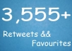 give You 3,555+ Retweets And Favourites From 3555+ UniQue Profiles From Different Ips Without Any Admin Access