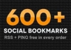 add your site to 400+  High PR social bookmarks + rss + ping + seo backlinks