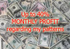 I'll show you one way how you can increase your capital up to 40% monthly on the Forex market. I'll explain you a pattern how to automate your trading and what tools you have to use with low risks and with any markets movements. Additionally I'll provide you the one e-book ($4.99) bestseller with one success story of author for free. The author explains how he made his capital and what tools he used and what approach he using at well.