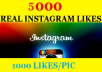 give 5000 REAL Instagram Likes at 5 Pics 1pic /1000 likes