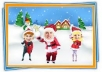 create an animated video greeting card for CHRISTMAS putting your face on a dancing Santa