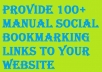 Provide 100+ manual Social bookmarking Links to your website
