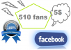 provide 510 Genuine fans on your Facebook page