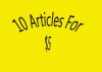 write 10, SEO friendly 200+ word articles