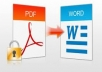 trasfer any pdf file to word document