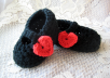 crochet these handmade baby Mary Jane shoes