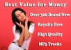 give you over 320 brand new royalty free music tracks, loops, samples for your youtube videos or other media projects