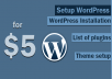 setup new WordPress installation with list of plugins and a theme