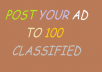 i will post your ad to 100 targeted classified ads