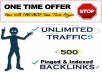 drive UNLIMITED Traffic + Build 500+ Pinged and  Indexed seo Backlinks For Your Website