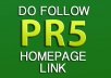 give you a PERMANENT PR5 DoFollow Homepage Link