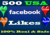 give you 500 real USA Facebook likes , fans to your fanpage