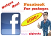 give you 8000+ Unique,Real,Top quality Guranteed Facebook Likes