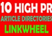 build a Linkwheel with 10 High PR Article Directories + Ping to get fast index