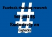 do facebook HASHTAG research for 3 keywords with report