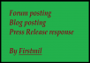 create and post 7 Quality and Meaningful blog/forum/press release responses.