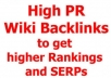 Highly Rank your website by submitting your URL to over 1000 of 100% Panda Safe contextual WIKI sites