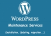 Install or update or move your WordPress website