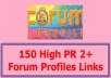 Build 150 High PR 2+ Forum Profiles Links