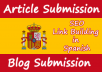 provide blog and article submission in Spanish sites